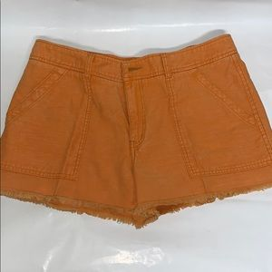 Orange Cotton cutoffs